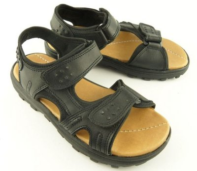 Mens Leather Look Twin Velcro